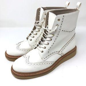 ZARA | White Patent Moto Boots